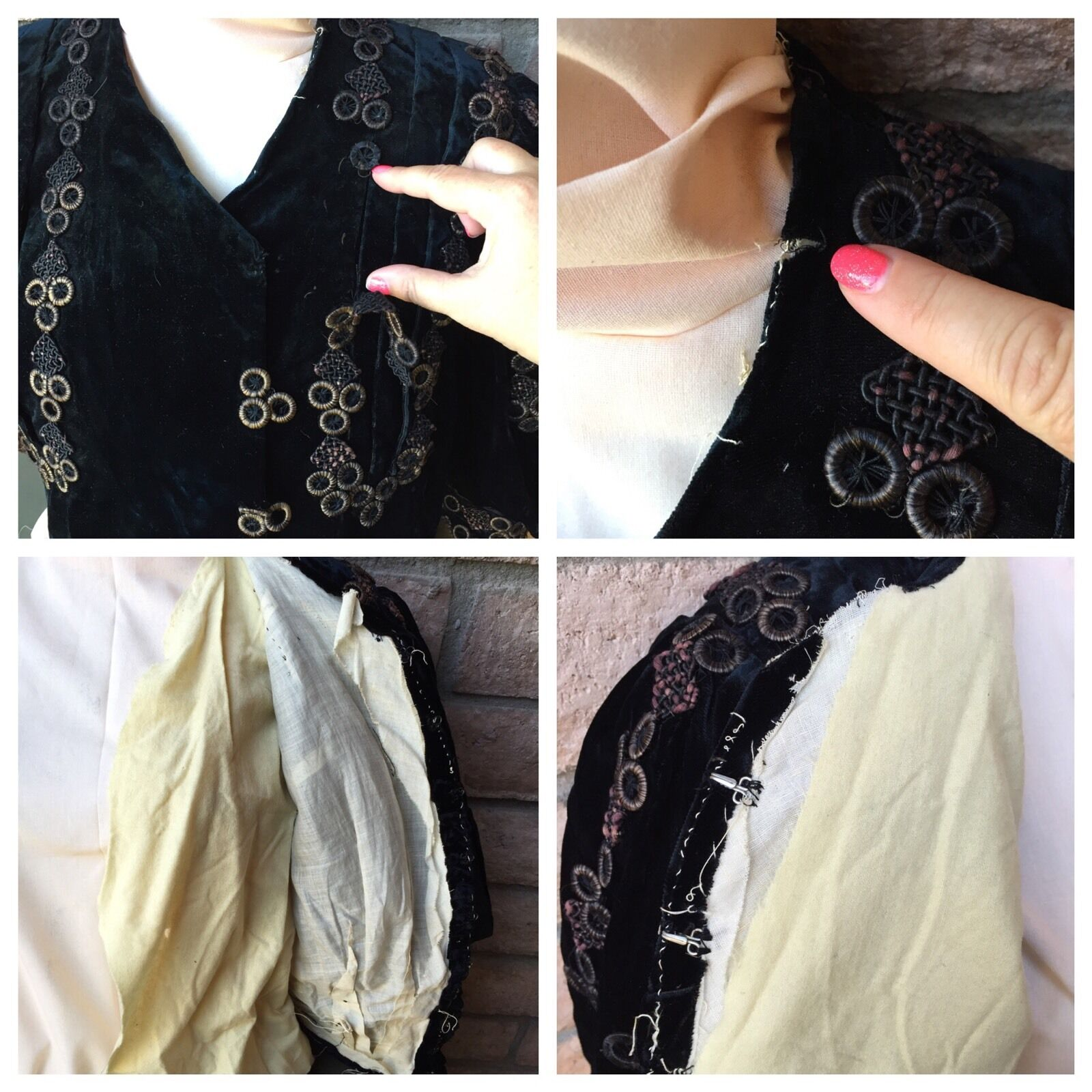 Antique 1890s Victorian Shirt Bodice Midnight Blu… - image 11