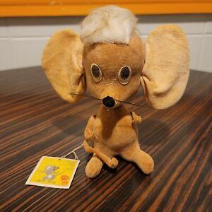"Kamar Mouse Sonja Plush Doll  Original Tag Wood Stuffed Japan 6"" 2602 Vtg 1966"