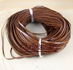 Brown Flat Genuine Leather Jewelry Craft Cord String Lace Thong Jewellery 3*1MM