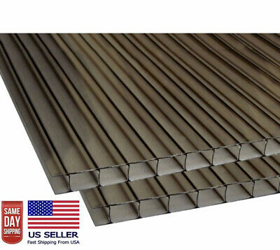PACK OF 2 24/'/' x 48/'/' x14mm 1//2  POLYCARBONATE 4WALL BRONZE SHEETS