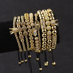 Luxury-Men-039-s-Micro-Pave-CZ-Ball-Crown-Charm-Bracelet-Copper-Bead-Bracelets-Gift