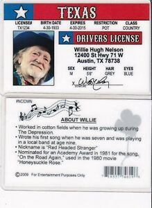 Details about Country Singer WILLIE NELSON Austin Texas TX fun Drivers  License fake id card