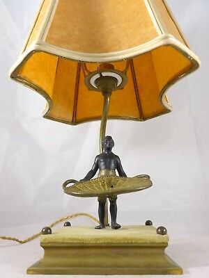 Ancienne Lampe Africanisme Bronze Personnage Xixème / Antique Lamp 19th Gedistribueerd Worden Over De Hele Wereld