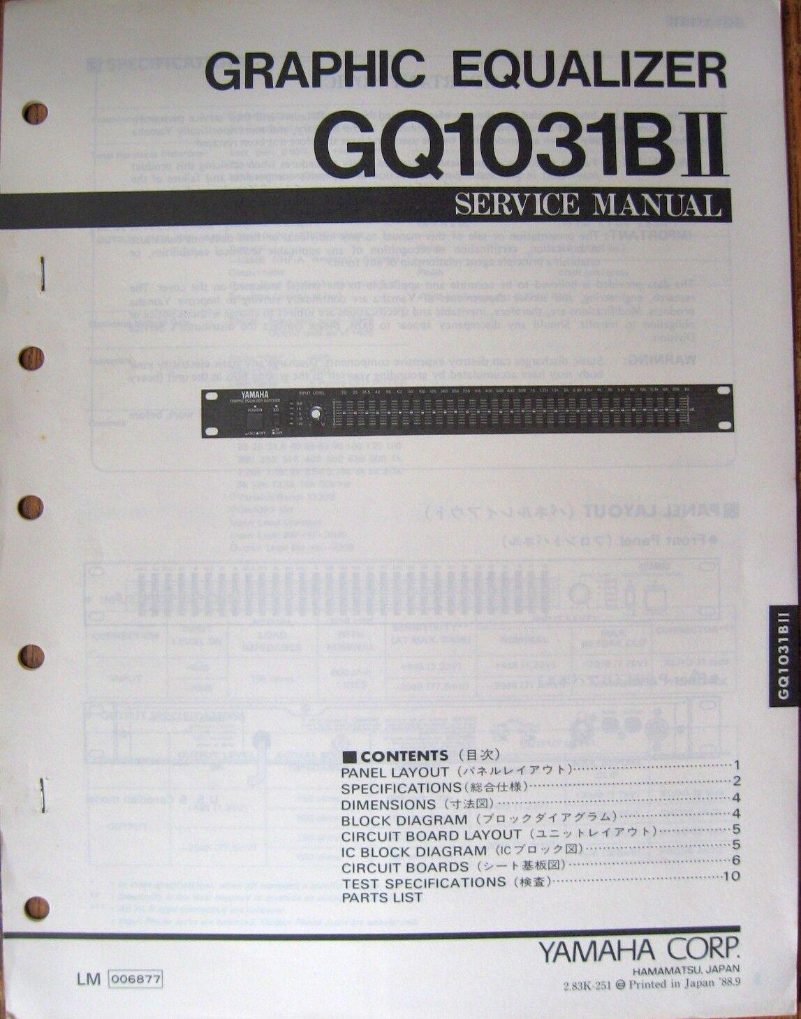 Original Yamaha Gq1031bii Rack Mount Graphic Equalizer Service 5 Band Equaliser Circuit Diagram Manual Ebay