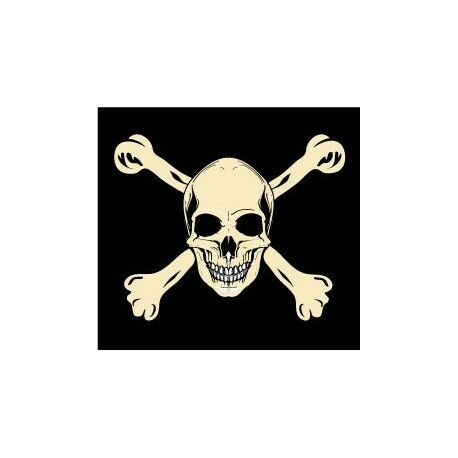 Autocollant drapeau tête mort sticker logo 1 Taille:17 cm