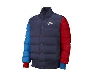 Marte Énfasis morir  Para Hombre Nike Sportswear chaqueta de plumón de relleno 928819-557  Púrpura/Rojo-Azul Nuevo tamaño S   eBay