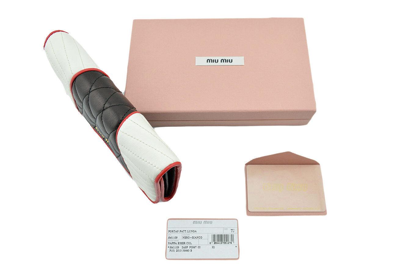 318bd48a24f1c $650 MIU MIU Black White Red NAPPA BIKER Leather Clutch Wallet LIMITED  EDITION. `