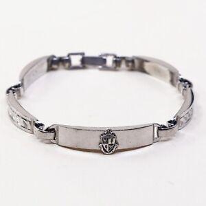 6-5-Vtg-Italy-Sterling-925-Silver-Handmade-Bar-Chain-Bracelet-w-Tag