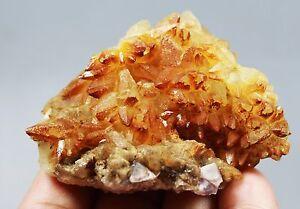 New Find Clear Natural Beautiful Orange Calcite/Fluorit Crystal Cluster Specimen