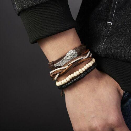 4Pcs Punk Multilayer Leather Bracelet Men/'s  Women Wristband Bangle Jewelry Set