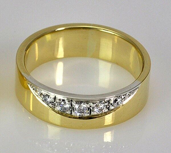 Handarbeit   Massive Ring yellow oder whitegold 585 5 mm Breit & 5 Diamanten ca.5 g