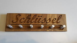 Schluesselbrett-034-SCHLUSSEL-034-aus-Eiche-und-Alu-CNC-gefraest-6-Haken-geoelt