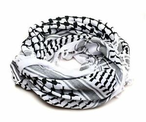 White-and-Black-Arabic-Scarf-100-Cotton-Shemagh-Keffiyeh-Arab-Neck-Head-47-034-x47-034