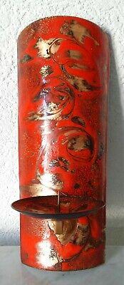 Schneidig Alter Wandkerzenhalter Wandkerzenleuchter Leuchter Emaille Rot Gold 60er 70er Eine GroßE Auswahl An Farben Und Designs