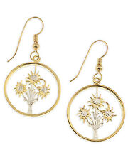 """Austrian Edelweiss Earrings, 14 K Gold and Rhodium Plated, 3/4"""" in Dia,( #11E )"""