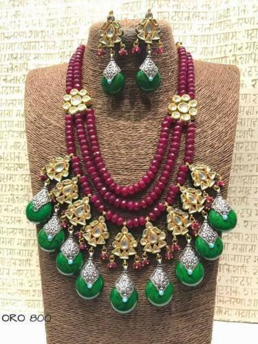Traditional High Quality Kundan Maroon Green Bead Necklace Earring Jewelry Set