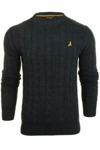 Brave Soul Mao Mens Jumper Cable Knit Crew Neck Sweater