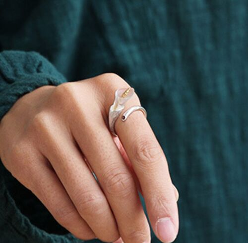 925 Argent Calla Lily Fleur réglable anneau cristal grenat gold Handmade