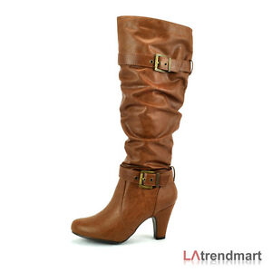 4b212fdf73bc Details about Knee High Riding Low Heel Long Tall Boots Zipper Shoe  MyDelicious Ajax Black Tan
