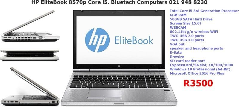 HP EliteBook 8570p Core i5. Bluetech Computers 021 948 8230