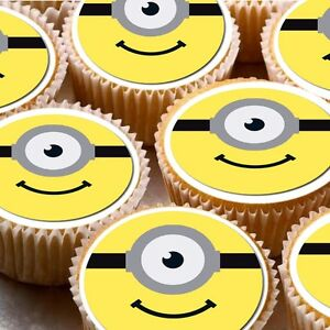 24-icing-cake-cupcake-fairy-toppers-decorations-Minion-Faces-despicable-me
