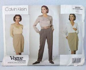 Calvin-Klein-2832-Vogue-Patterns-wrap-style-skirt-cuffed-pants-pockets-sz-18-22
