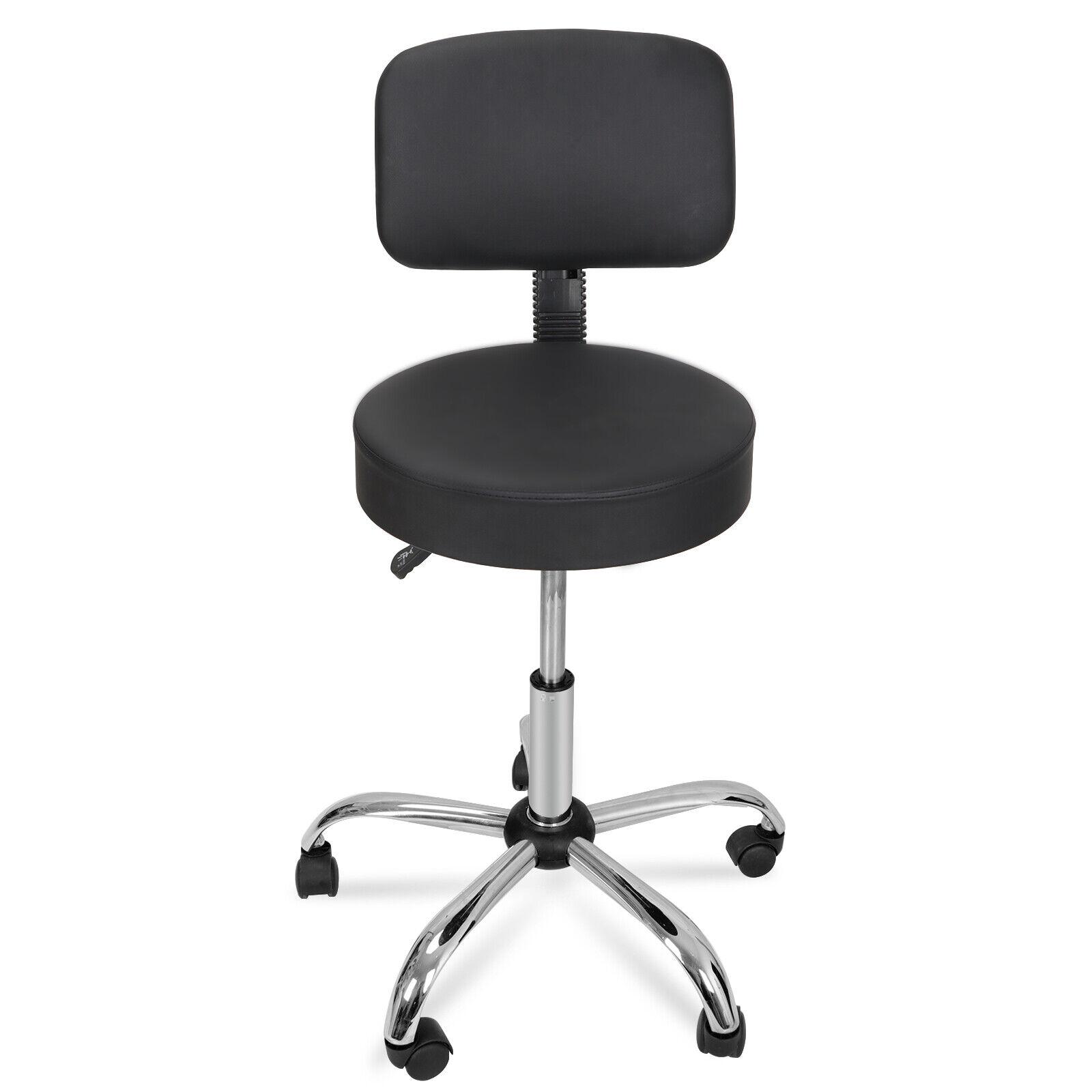 Salon Stool Chair Adjustable Height w/ Back Rest Black Hydraulic Rolling Swivel Health & Beauty