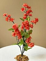 Artificial Aquarium 11 Inch Coral, Lt. Orange Silk Flower Plant With Stone Base