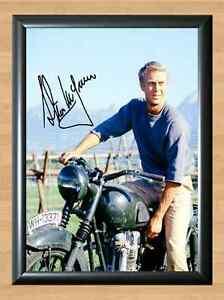 Steve Mcqueen The Great Escape Signed Autographed A4 Poster Print Photo Movie Kino Autogramme & Autographen