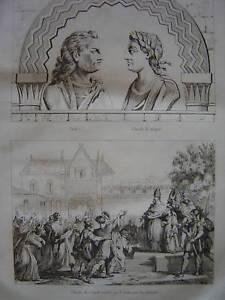 Gravure Eudes Charles le Simple rétabli sur le trône - France - Période: XIXme et avant - France