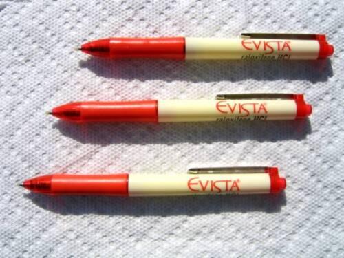 Drug Rep Pens 3 Evista Red Chrome Clips  Rare Find!
