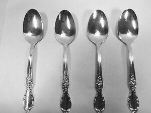 Antique-1954-Wm-Rogers-amp-Son-Victorian-Rose-Silver-Plate-Teaspoon