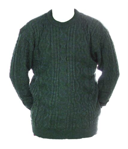 Mens M L New Crew Neck Green Grey Mix Jumper Acrylic Wool Pullover Sweater Lads