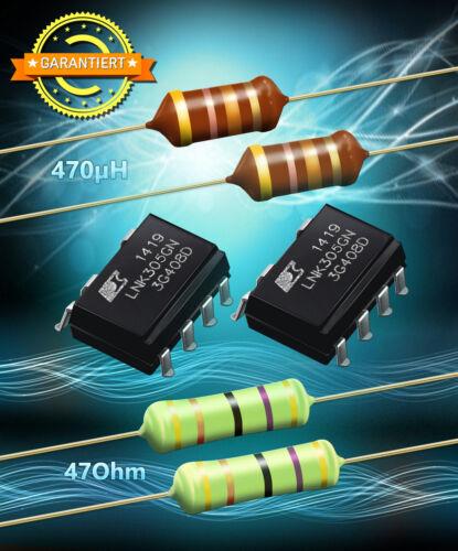 2x Widerstand 47 Ohm 3W Reparaturset 2x LNK305GN IC 2x HF Drossel 470µH