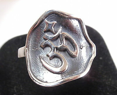 Ohm Ring Oxidized Background Solid 925 Sterling Silver Yoga Om Sizes 5.5 to 8.5