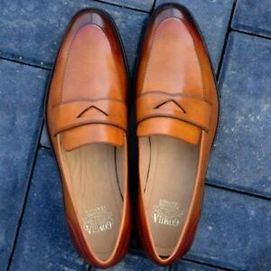 Handmade-Loafers-Penny-Moccasins-Fashion-Party-Real-Calf-Skin-Leather-Shoes