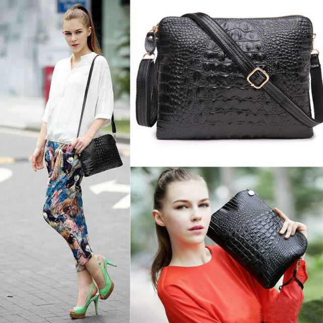2017 Women Genuine Leather Crocodile Clutch Envelope Purse Crossbody bag Handbag