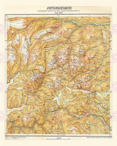 Map Antique 1917 Kross Jotunheimen Physical Large Replica Canvas Art Print