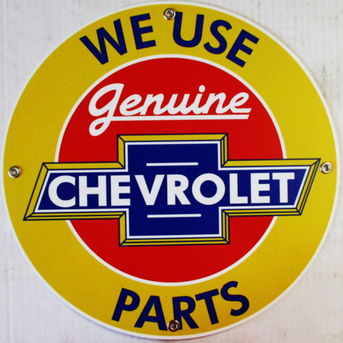 "Chevrolet-Genuine Parts Automotive 12/"" Round Metal Sign"