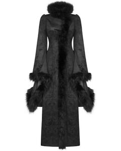 Punk-Rave-Womens-Gothic-Coat-Jacket-Long-Black-Brocade-Damask-Faux-Fur-Steampunk