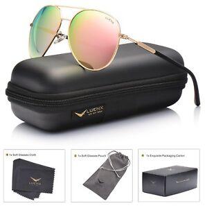 Womens Sunglasses Aviator Polarized Pink Mirror by LUENX - UV 400 Protection Gol