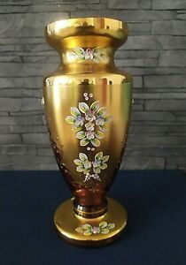 Czech-bohemia-glass-Red-vase-30cm-decorated-gold