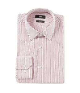HUGO-BOSS-ENZO-US-BLACK-LABEL-DRESS-SHIRT-EASY-IRON-REGULAR-FIT-STRIPED-RED-NWT