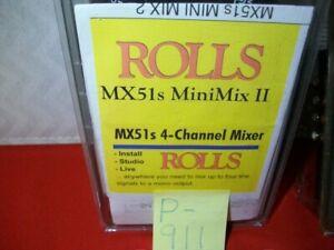 BRAND NEW ROLLS MX51s MINIMIX II 4-CHANNEL MIXER INCL. ROLLS PS27 AC ADAPTER
