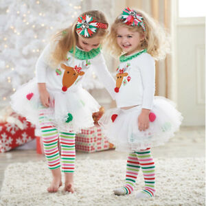 2226e3b96b2ef Image is loading Christmas-Reindeer-Top-Skirt-with-Leggings-Outfits-Xmas-