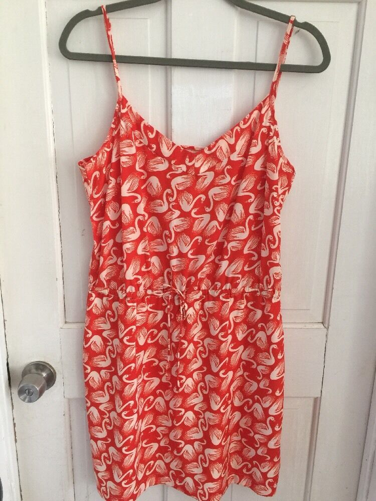 Anthropologie Porridge Dress Sundress Red Swan Print Size S