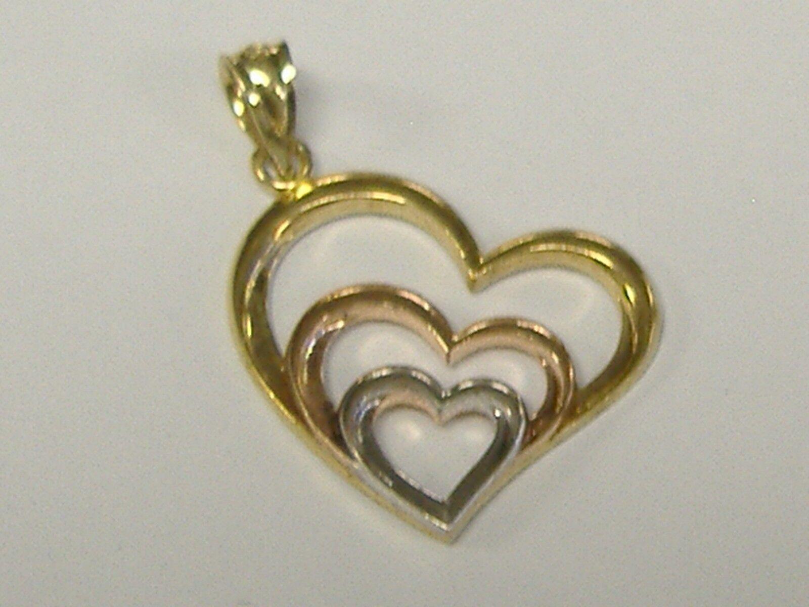 VINTAGE 10K  3 TONE gold HEARTS CHARM