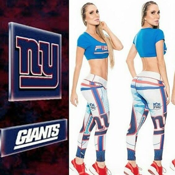 NEW YORK Giants Football Team FIBER LEGGING Gym Yoga LIFT Shape pants Colombian
