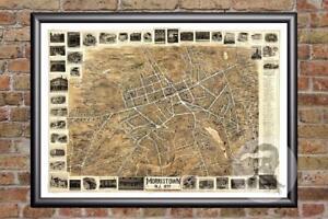 NJ Map 1849 Historic New Jersey Art Old Victorian Industrial Vintage Trenton