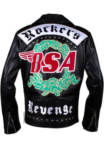 Da Uomo BSA GEORGE MICHEAL fede ROCKERS VENDETTA Giacca Biker Giacca in Vera Pelle